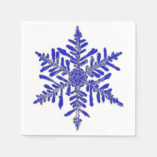 Blue Snowflake Paper Cocktail Napkin