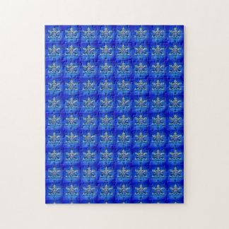 Blue Snowflake Pattern Jigsaw Puzzle