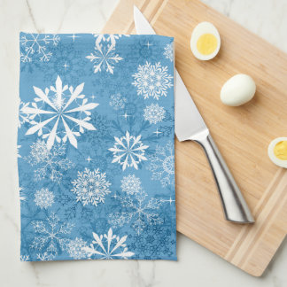 blue snowflake pattern kitchen towel