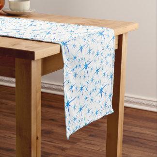 Blue snowflake pattern short table runner