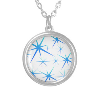 Blue snowflake pattern silver plated necklace