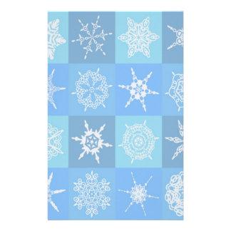 Blue Snowflake Pattern Stationery