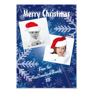 Blue snowflake photo template Xmas holiday