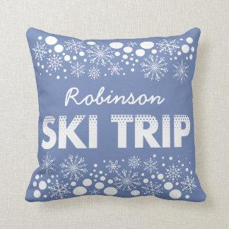 Blue Snowflake Ski Trip Pillow