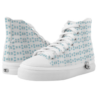 blue snowflake star design Zipz High Top Shoes