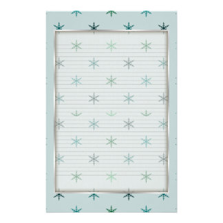 Blue Snowflake Stationery optional lines
