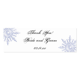 Blue Snowflake Wedding Favor Tags Double-Sided Mini Business Cards (Pack Of 20)