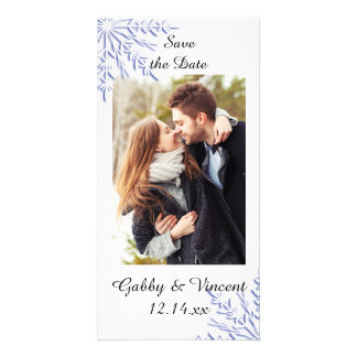 Blue Snowflake Winter Wedding Save the Date Photo Card Template