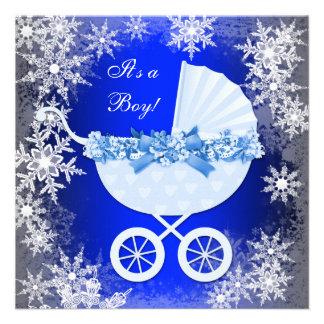 Blue Snowflake Winter Wonderland Baby Shower Custom Invite