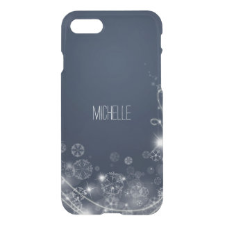 Blue Snowflake with Name iPhone 7 Case