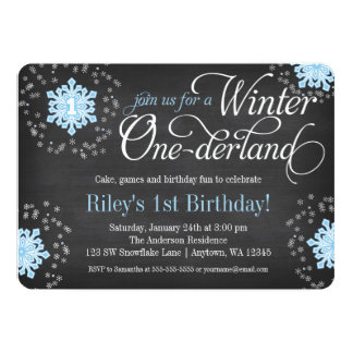 "Blue Snowflakes Chalkboard Winter Onederland 5"" X 7"" Invitation Card"