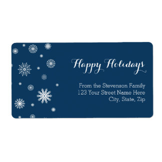 Blue Snowflakes Christmas Address Labels