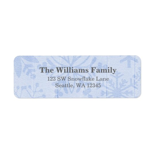 Blue Snowflakes Christmas Address Return Address Label