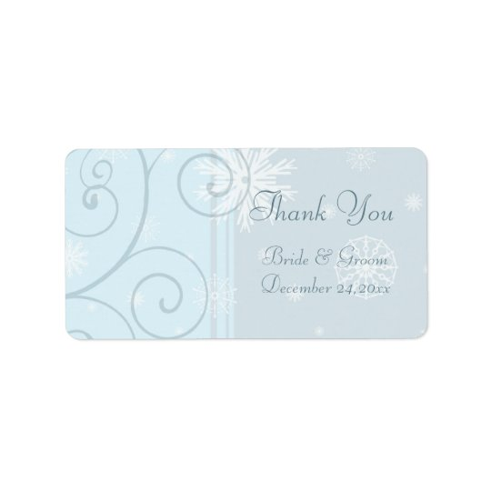 Blue Snowflakes Christmas Wedding Labels