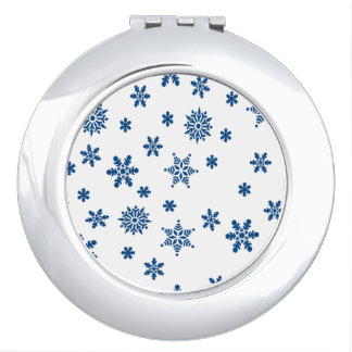 Blue Snowflakes Compact Mirror