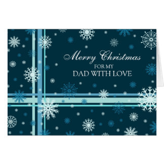 Blue Snowflakes Dad Merry Christmas Card
