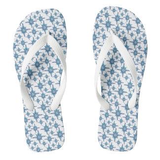 Blue snowflakes flip flops