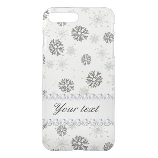 Blue Snowflakes Gold Stars Silver Diamonds iPhone 7 Plus Case