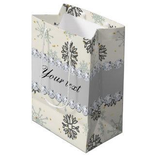 Blue Snowflakes Gold Stars Silver Diamonds Medium Gift Bag