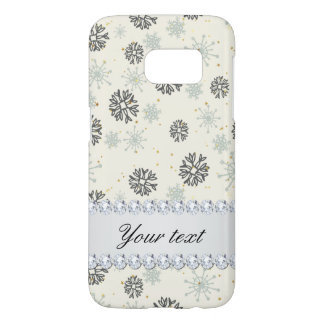 Blue Snowflakes Gold Stars Silver Diamonds Samsung Galaxy S7 Case