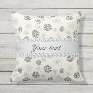 Blue Snowflakes Gold Stars Silver Diamonds Throw Pillow