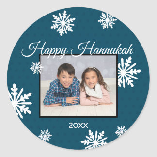 Blue Snowflakes Happy Hanukkah - Circle Sticker