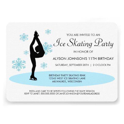 Blue Snowflakes Ice Skating Party Invitation