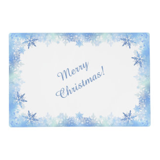 Blue snowflakes laminated placemat