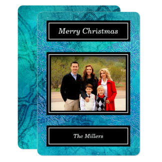 Blue Snowflakes - Merry Christmas Holiday Photo Card