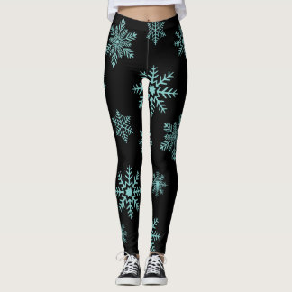 Blue Snowflakes on black Leggings