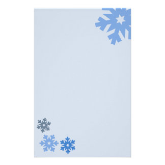 Blue Snowflakes on Pink Background Personalized Stationery