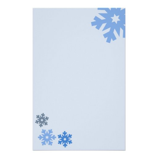 Blue Snowflakes on Pink Background Custom Stationery