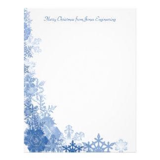 Blue Snowflakes on White Background Custom Letterhead