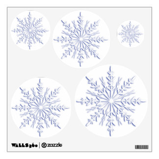 Blue Snowflakes on White Wall Sticker