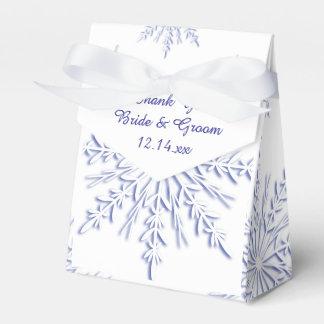 Blue Snowflakes on White Winter Wedding Favor Box