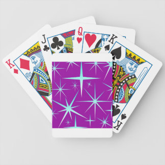 Blue snowflakes pattern on purple bicycle playing cards