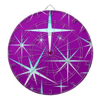 Blue snowflakes pattern on purple dartboard