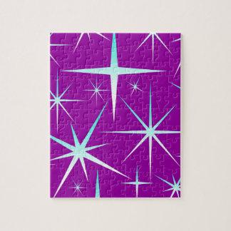 Blue snowflakes pattern on purple jigsaw puzzle