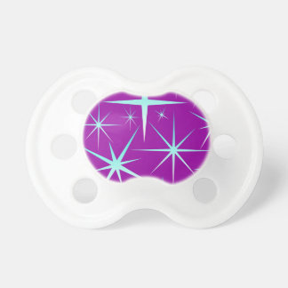 Blue snowflakes pattern on purple pacifier