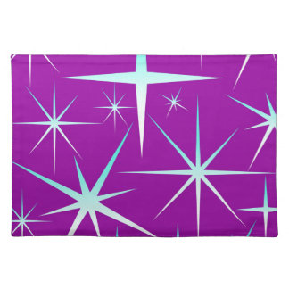 Blue snowflakes pattern on purple placemat