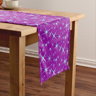 Blue snowflakes pattern on purple short table runner