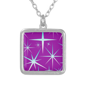 Blue snowflakes pattern on purple silver plated necklace