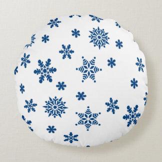 Blue Snowflakes Round Pillow