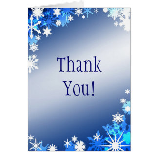 Blue Snowflakes Thank You Card