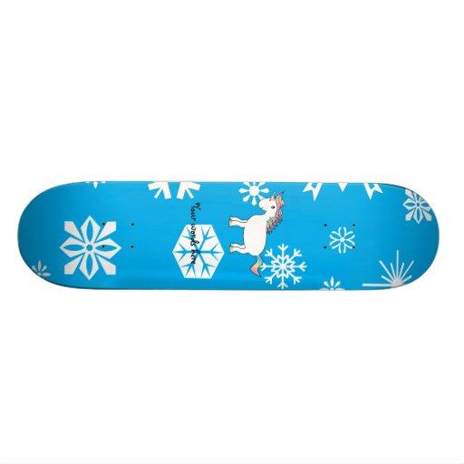 Blue snowflakes unicorn christmas gifts custom skate board