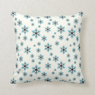 BLUE SNOWFLAKES, Winter & Holiday Design Throw Pillow