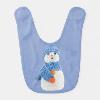 Blue Snowman Bib