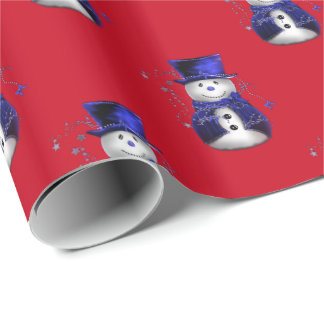 Blue Snowman Christmas Wrapping Paper