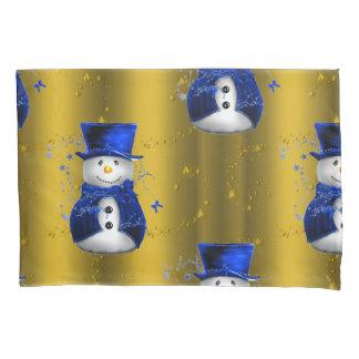 Blue Snowman on Gold Christmas Pillowcase