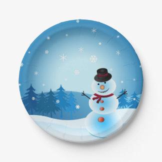 Blue Snowman Paper Plate